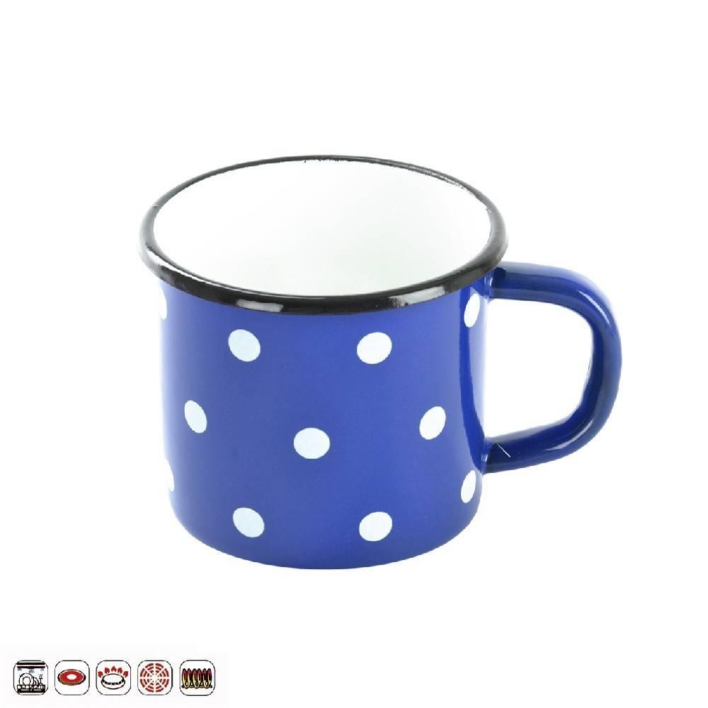 Smaltovaný hrnek modrý s puntíky 0,7l - Orion