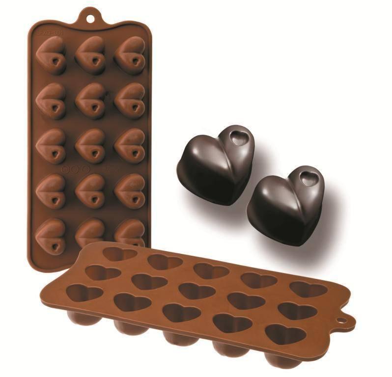 Formičky na čokoládu srdce 10,5x21cm - Ibili