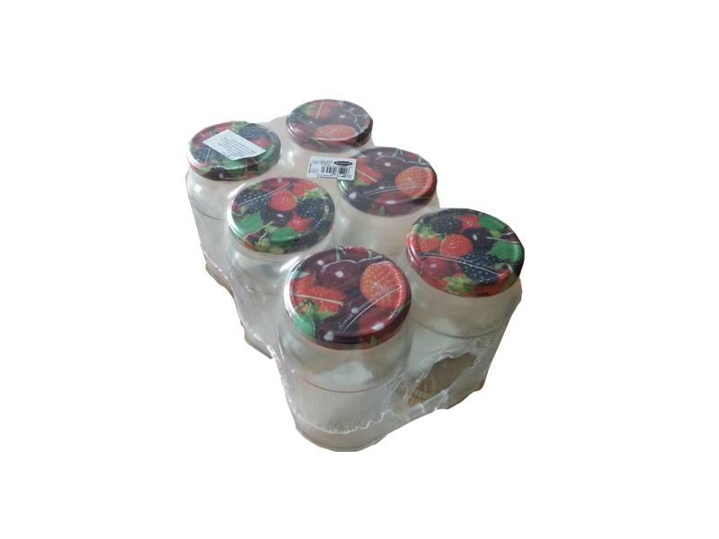 Sklenice s víčkem 500ml - 6ks motiv ovoce/zelenina - BIOWIN