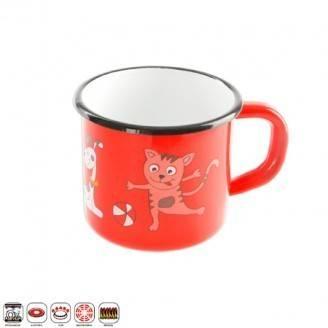 Hrnek smalt - 10cm, červený - dekor kočka - Orion