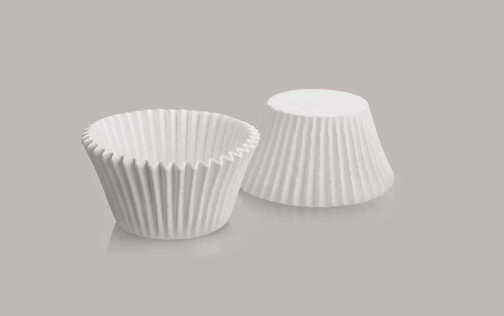 Cukrářský košíček kulatý bílý set 8x4,5cm – 50ks - Ibili