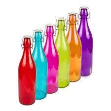 Skleněná láhev s klipem 1l - různé barvy - BIOWIN