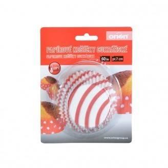 Papírové košíčky na muffiny červený proužek 60ks - Orion