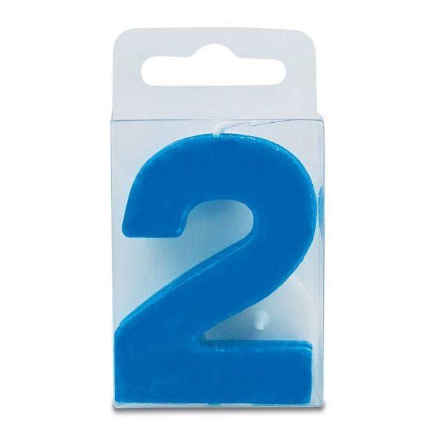 Svíčka ve tvaru číslice 2 - mini, modrá - Stadter