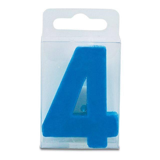 Svíčka ve tvaru číslice 4 - mini, modrá - Stadter
