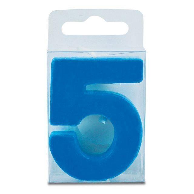Svíčka ve tvaru číslice 5 - mini, modrá - Stadter