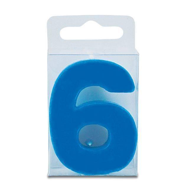 Svíčka ve tvaru číslice 6 - mini, modrá - Stadter