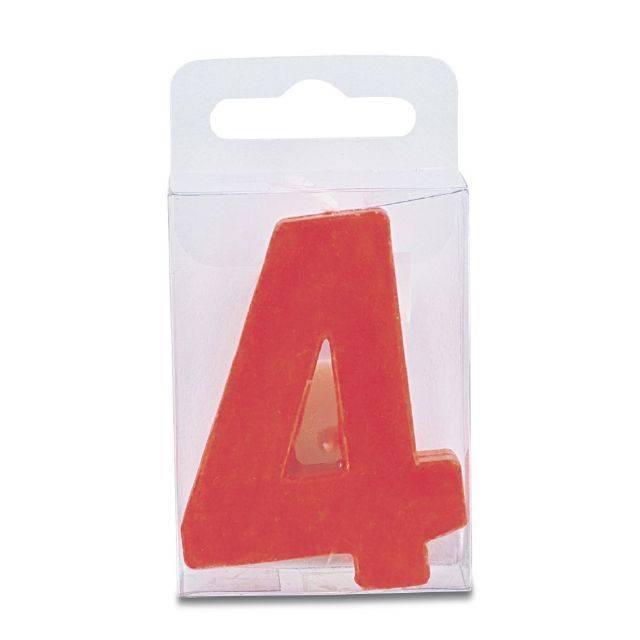 Svíčka ve tvaru číslice 4 - mini, červená - Stadter