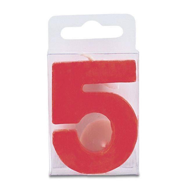 Svíčka ve tvaru číslice 5 - mini, červená - Stadter