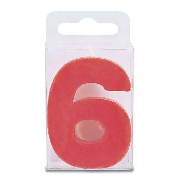 Svíčka ve tvaru číslice 6 - mini, červená - Stadter