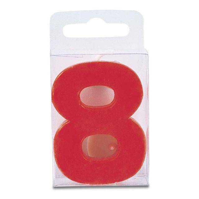 Svíčka ve tvaru číslice 8 - mini, červená - Stadter