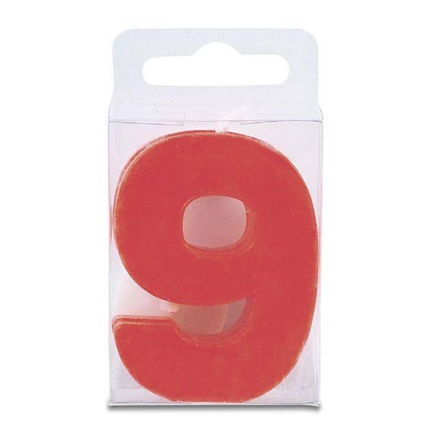 Svíčka ve tvaru číslice 9 - mini, červená - Stadter