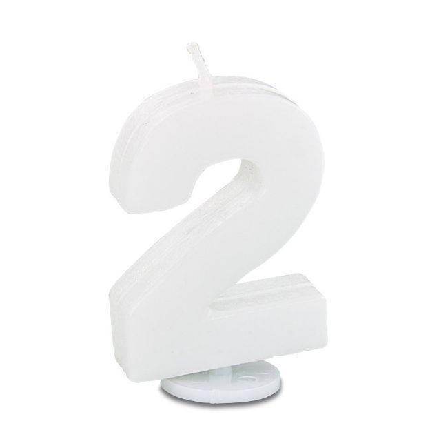 Svíčka ve tvaru číslice 2 - mini, bílá - Stadter