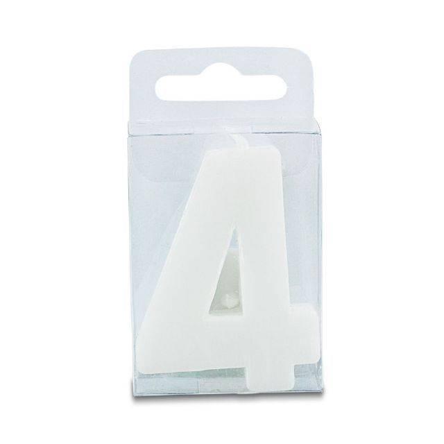 Svíčka ve tvaru číslice 4 - mini, bílá - Stadter
