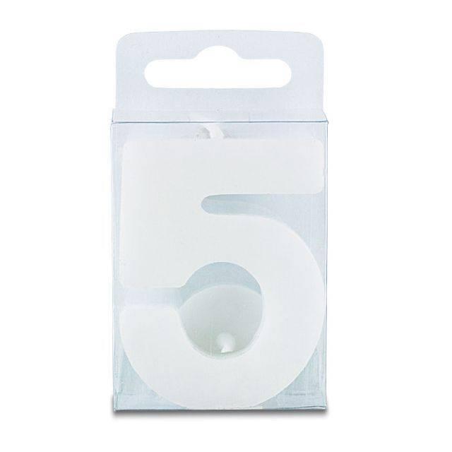 Svíčka ve tvaru číslice 5 - mini, bílá - Stadter