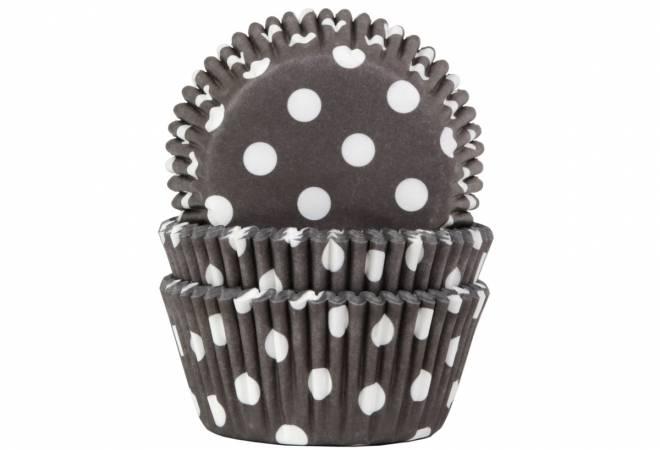 Papírový košíček na muffiny černý puntíkovaný 50ks - House of Marie