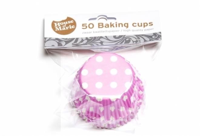 Papírový košíček na muffiny růžový puntíkovaný 50ks - House of Marie