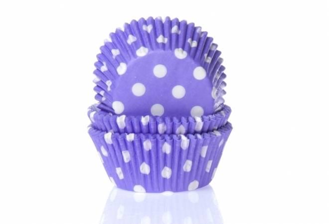 Papírový košíček na muffiny fialový puntíkovaný 50ks - House of Marie