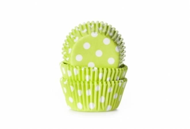 Cukrářský košíček zelený puntíkovaný mini 60ks - House of Marie