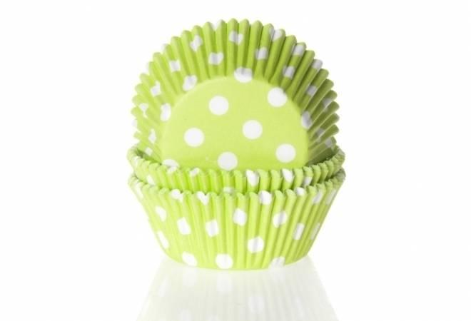 Papírový košíček na muffiny zelený puntíkovaný 50ks - House of Marie
