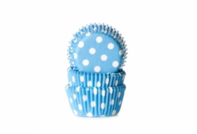 Cukrářský košíček mini světle modrý puntíkovaný 60ks - House of Marie