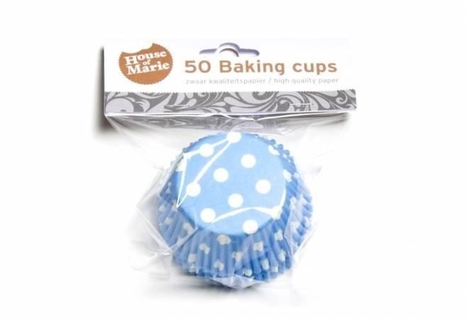 Papírový košíček na muffiny modrý puntíkovaný 50ks - House of Marie
