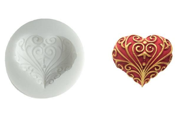 Silikonová forma na fondán- srdce - Silikomart