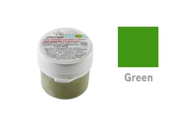 Prachová barva do tuků 5g - zelená - Silikomart