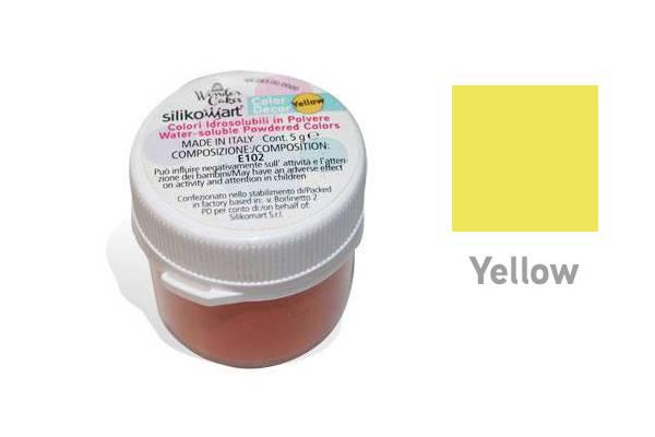 Prachová barva rozpustná vodou 5g - žlutá - Silikomart