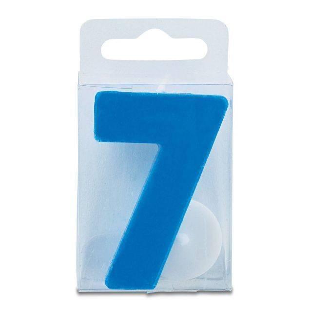 Svíčka ve tvaru číslice 7 - mini, modrá - Stadter