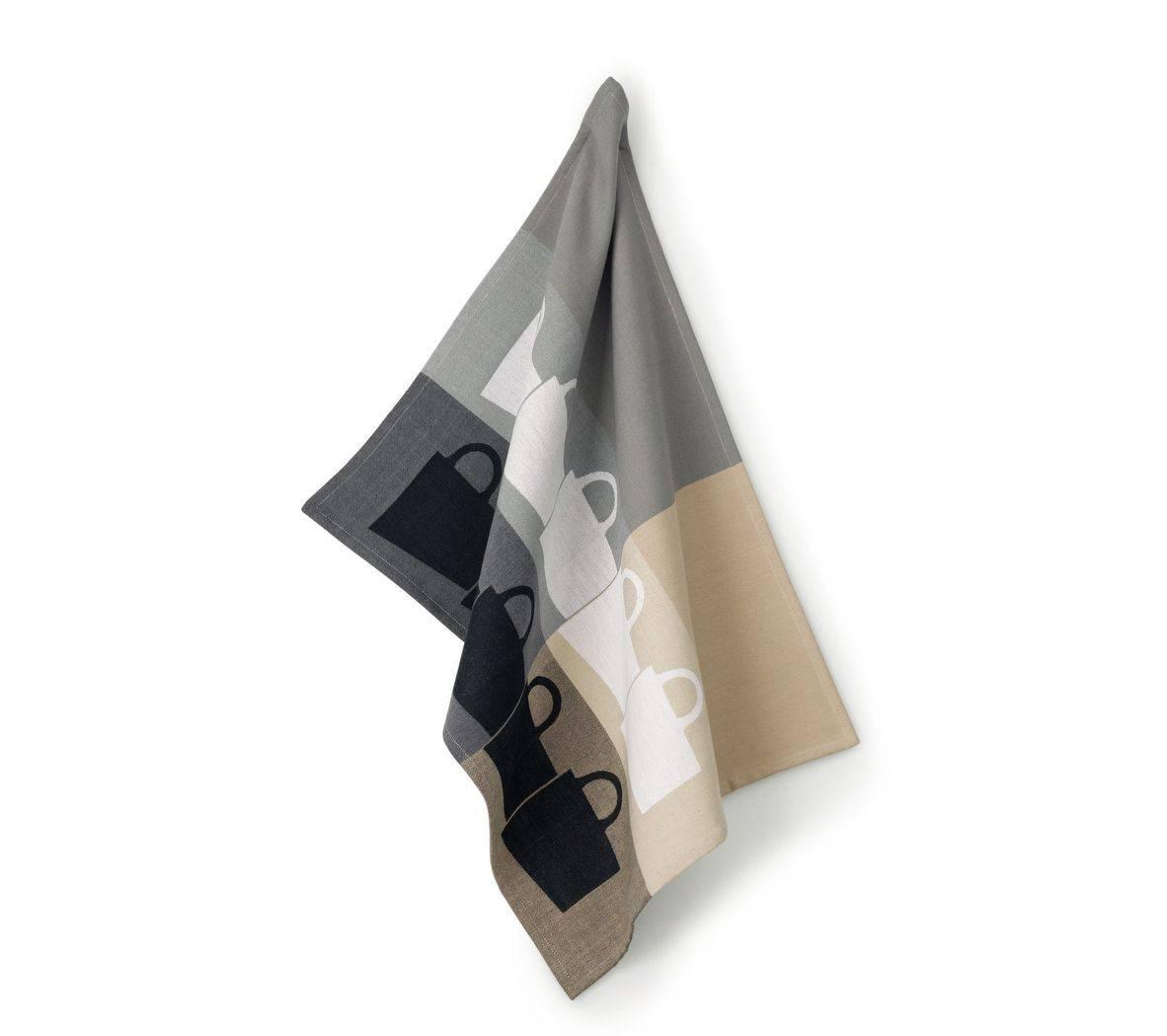 Utěrka na nádobí TABEA 100% bavlna, dekor hrnek, béžová / šedá 50x70cm - Kela