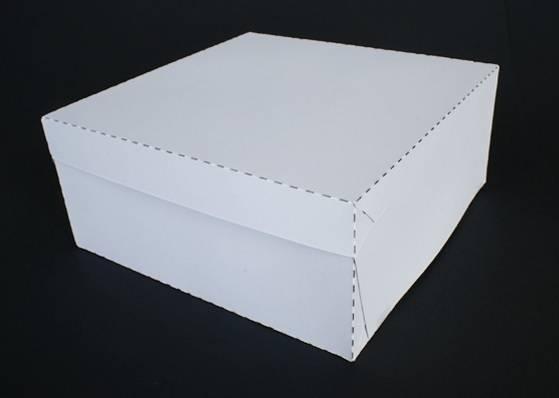 Dortová krabice pevná bílá včetně víka 30 x 30 x 10,5cm -