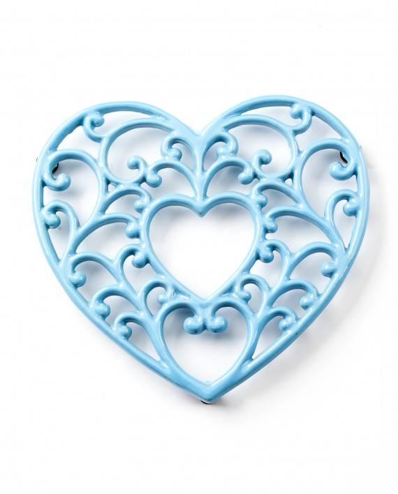Podložka pod hrnec - smaltovaná srdce - modré - Smalt