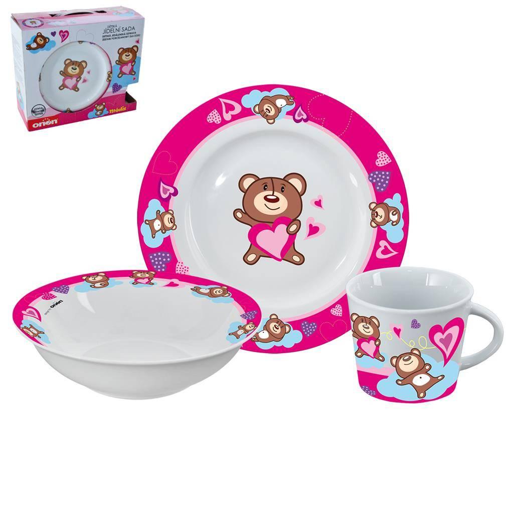 Jídelní sada pro děti Medvídek 3ks růžová - Orion
