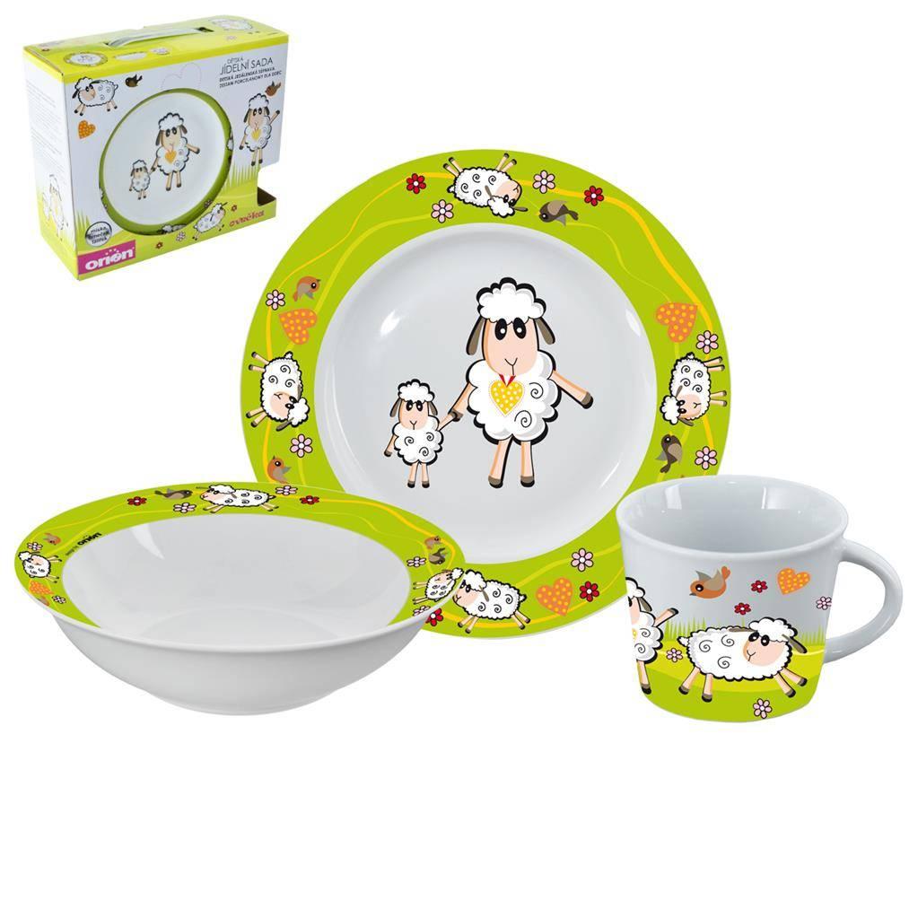 Jídelní sada pro děti Ovečka 3ks zelená - Orion