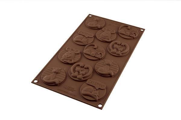 Silikonová forma na čokoládu – kočičí známky - Silikomart