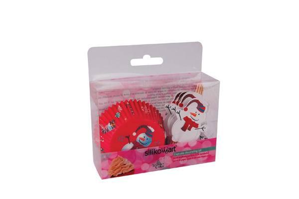 Papírové košíčky a zapichovátka – sněhuláci – set 48 ks - Silikomart