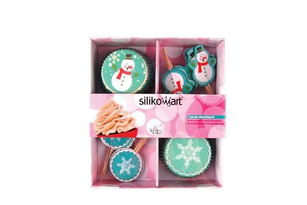 Papírové košíčky a zapichovátka sněhuláci a vločky set 48 ks - Silikomart