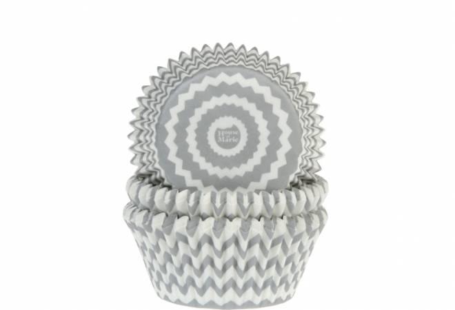 Košíčky na muffiny CHEVRON stříbrno-šedé 50 ks - House of Marie