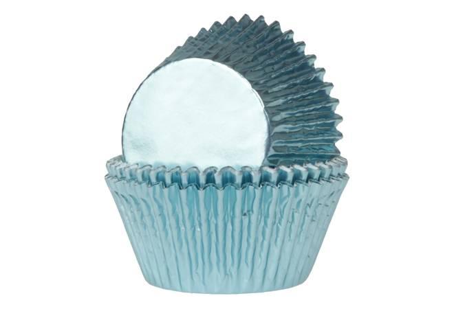 Košíčky na muffiny LESKLÉ světle modré 24 ks - House of Marie