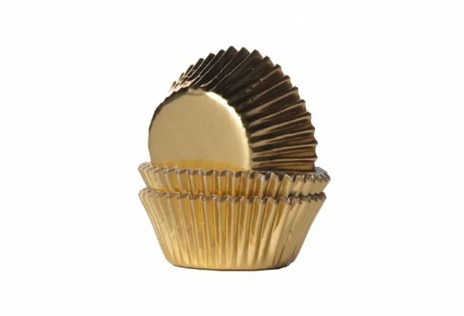 Mini košíčky na muffiny LESKLÉ zlaté 36ks - House of Marie