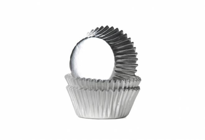 Mini košíčky na muffiny LESKLÉ stříbrné 36ks - House of Marie