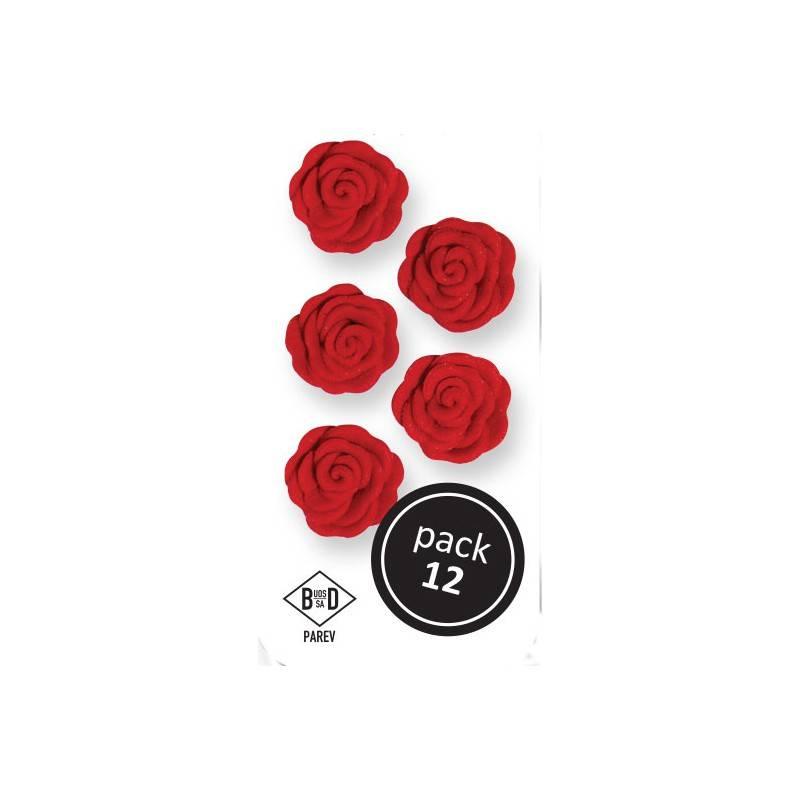 Cukrové růže rudé 1,5cm 12ks - PME