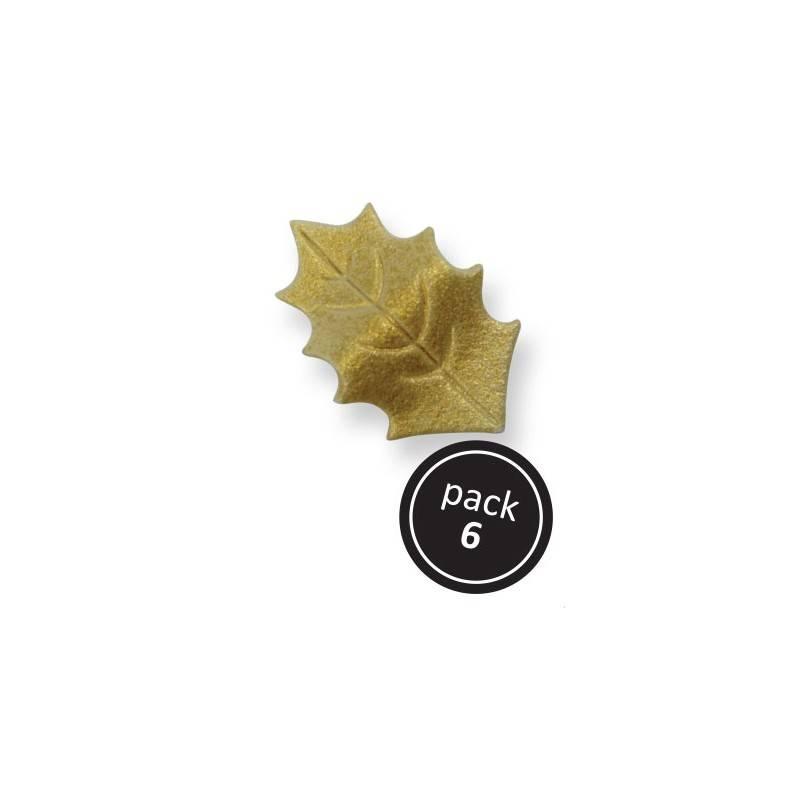 Cukrové zdobení – zlaté listy 4x2,6cm – 6ks - PME