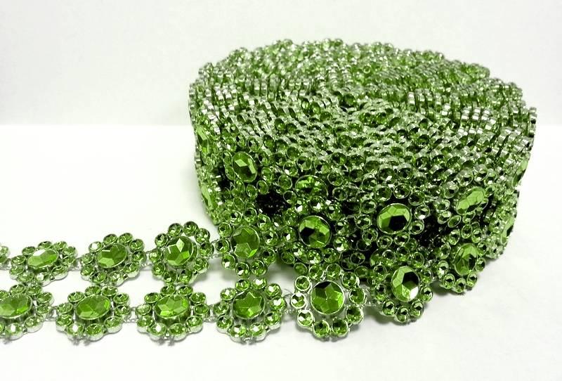 Stuha na dort diamantová -zelené květy -