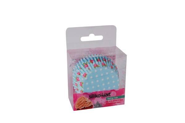 Košíček na muffiny růže modrý 50ks - Silikomart