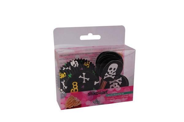 Košíček na muffiny s dekorací piráti 24ks - Silikomart