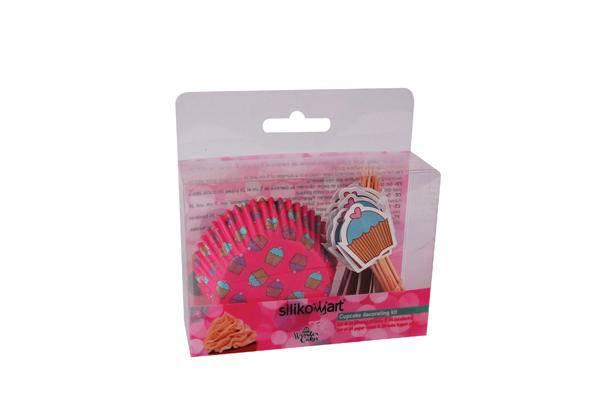 Košíček na muffiny s dekorací růžový 24ks - Silikomart