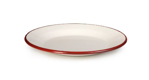 Smaltovaný talířek bílo červený 22cm - Ibili