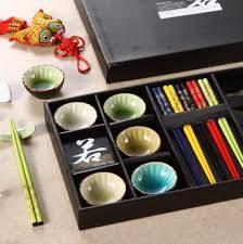 Čínské hůlky + misky SET 15 ks barevný - ILA